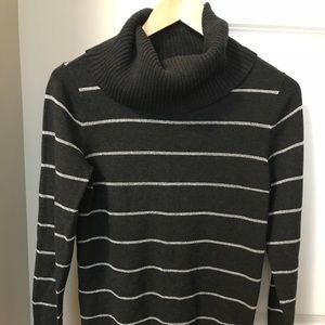 NWOT LOFT Gray Silver Stripe Cowl Neck Sweater